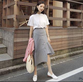 Grid Irregular Skirt