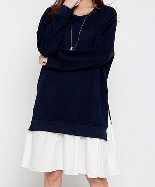 Colourblock Dress in Blue White