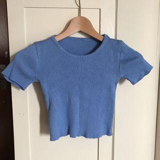 Blue Crop Top t shirt tee 藍色短袖衫 上衣 沙灘 運動