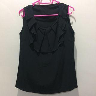 Chiffon Black Sleeveless Formal Top