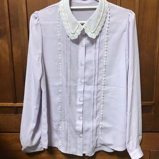 小珍珠蕾絲雪紡襯衫