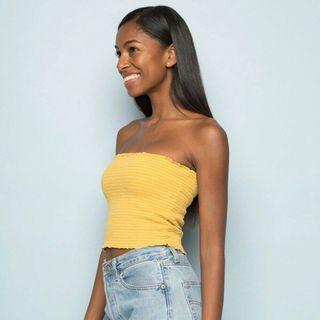 Yellow Tube Smocked Crop Top