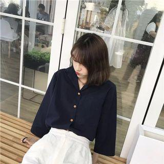 Navy Blue Long Sleeve Top/Blouse