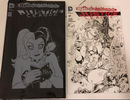 Justice League #47 Harley Quinn Variant Jim Lee Black White Variant