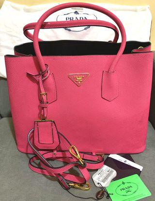 09786187a Preloved Prada Saffiano Cuir Large Double Flap Convertible Sling Handbag
