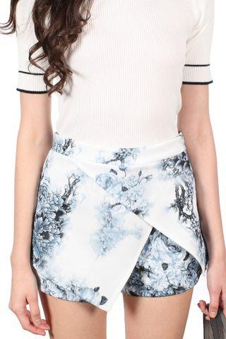 BN The Stage Walk Natalia Cut In Perfect Skort in Grey Floral