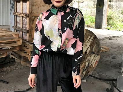 復古印花 雪紡襯衫