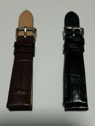 Leather Watch Straps 18mm (Black and Brown)