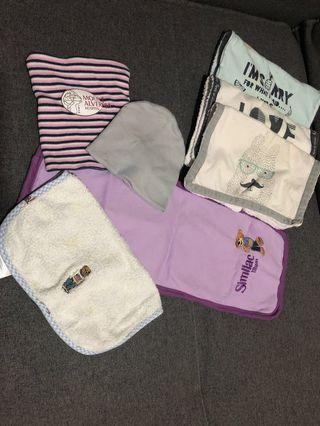 Giveaway baby bibs, handkerchief, shirt, hats