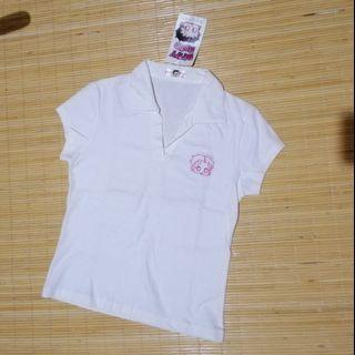 Betty Boob White Polo Shirt Tshirt Kaos Kerah Putih