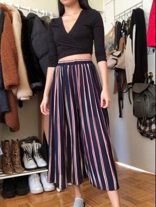Pleated Stripes Wide Leg Pants/Skirt
