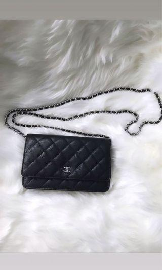 Chanel Wallet on Chain  Black Caviar with silver hardware
