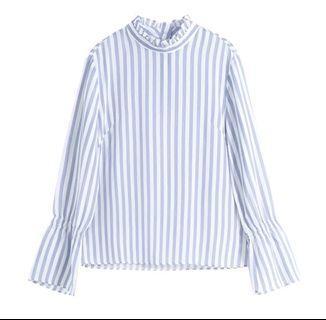 100%Silk法式優雅木耳邊藍白條紋砂洗眞絲上衣襯衫