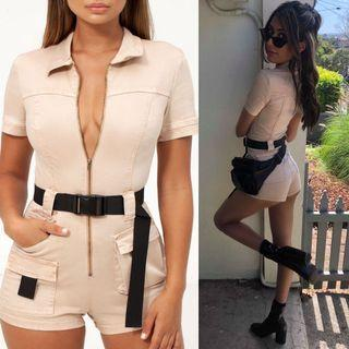 Oh Polly Beige Buckle Belted Playsuit