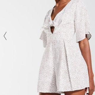WHITE & BROWN POLKA DOT FRONT TIE PLAYSUIT