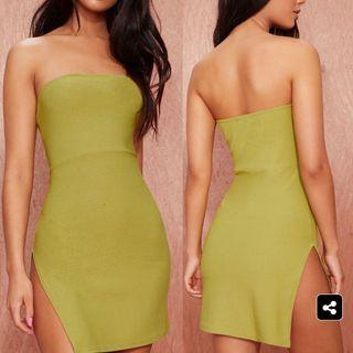 PLT Olive Body Con Slit Mini Dress