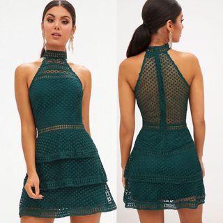 PLT Emerald Green Frill Dress