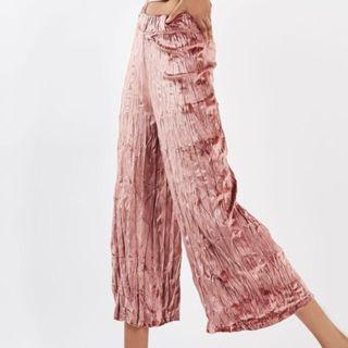TOPSHOP Wide-Leg Crushed Velvet Trousers