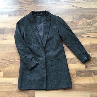 COS Grey Heather Wool-Blend Blazer Jacket