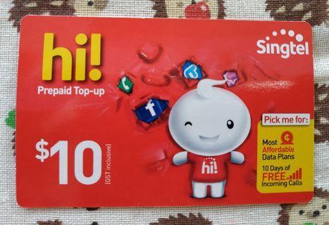 Singtel hi! Card prepaid top up