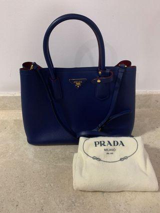 🚚 Like New Prada Blue Double Cuir Bag GHW