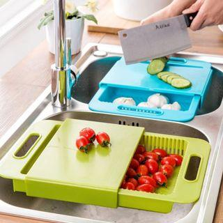 Cutting Chopping Board 3 In 1 Kitchen Sink With Rinse Basket