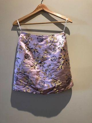 Mink pink oriental print skirt