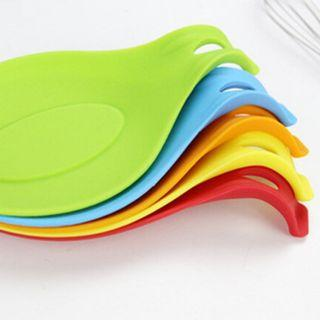 Silicone Spoon Mat Spatula European Style Spoon Pad For Kitchen Gadget ( Set of 5)