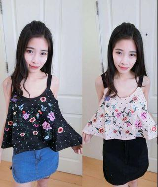 Embroidery Floral Sleeveless Top