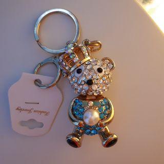 水鑽皇冠熊鑰匙圈