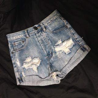 tobi highwaisted ripped denim shorts