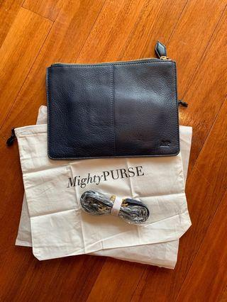 MIGHTY PURSE real leather, brand new rechargeable purse (charges a smart phone)
