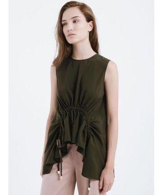 Lene Corinna Drawstring Top in Forest Green