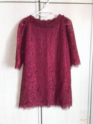 Korea Red Wine Full Lace Function Dress