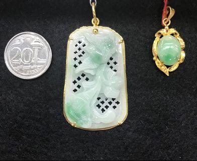 Jade & gold pendants