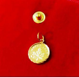Refurbished Gold Pendant 916(22k) / 1.34g / Virgo-Maple Leaf Design