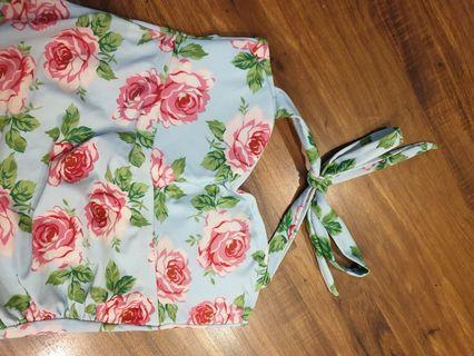 Retro Floral Tankini Swimsuit with High Waist Bottom