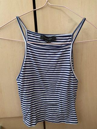 UK brand (now selling at discounted price): navy blue and white Striped Halter Top (body con)