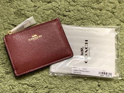全新 美國🇺🇸酒紅色 Coach card holder / Wallet