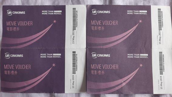 UA Cinemas Movie VoucherX4 UA電影禮卷X4 [Valid until 15 May 2019]