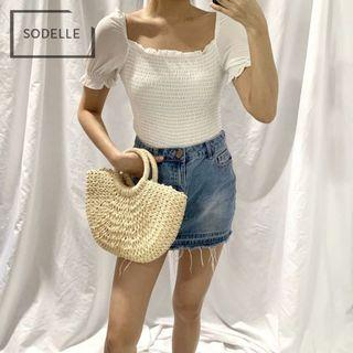 🚚 Square neck off the shoulder top white