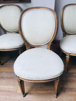 Classy solid wooden dining chairs w/ beige velvet fabric