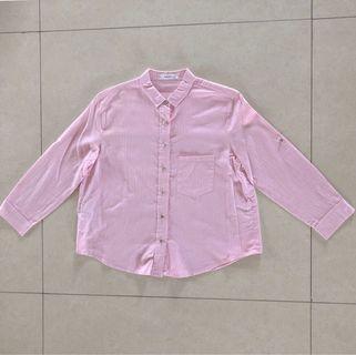 Kemeja Mango Casual Crop Shirt Pink