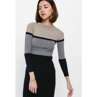 🚚 Tadia Colourblock Knit Midi Dress