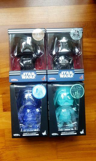 Cosbaby Star Wars Darth Vader set of 4 Bronze Chrome Holographic Glow