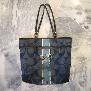 COACH Heritage Stripe Signature Tote Bag