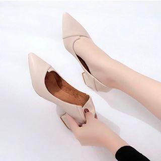 Beige Block Pointed Heels