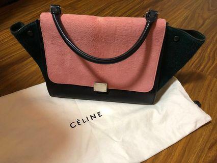 🚚 Celine Pink Tricolour Ponyhair Trapeze