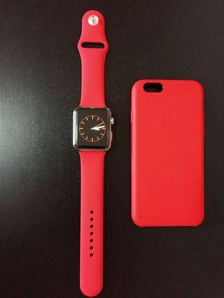 [READY STOCK] Red Casual Silicone Rubber sports strap/band for apple watch series 1-4, iwatch sizes 38mm/40mm/42mm/44mm