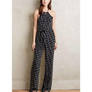 Anthropologie Windowpane Halter Jumpsuit by Sanctuary
